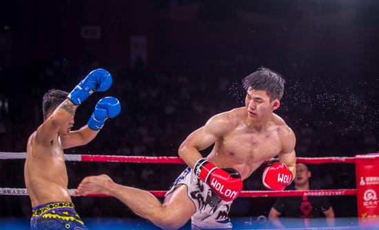 搏击王金腰带争霸赛海口站热血开打 中国选手谢岩KO对手获新海南金腰带